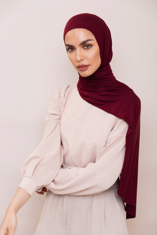 Burgundy Instant Hijab | VOILE CHIC | Slip On Hijab
