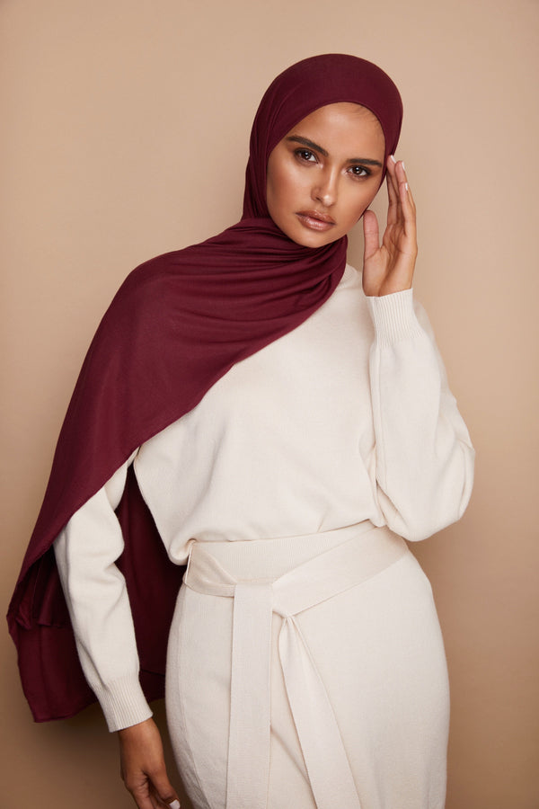 Burgundy Jersey Hijab | VOILE CHIC | Jersey Hijab