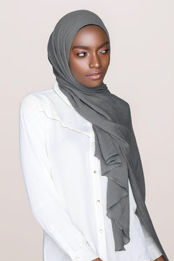 Crinkle Cotton Hijab - Charcoal Grey