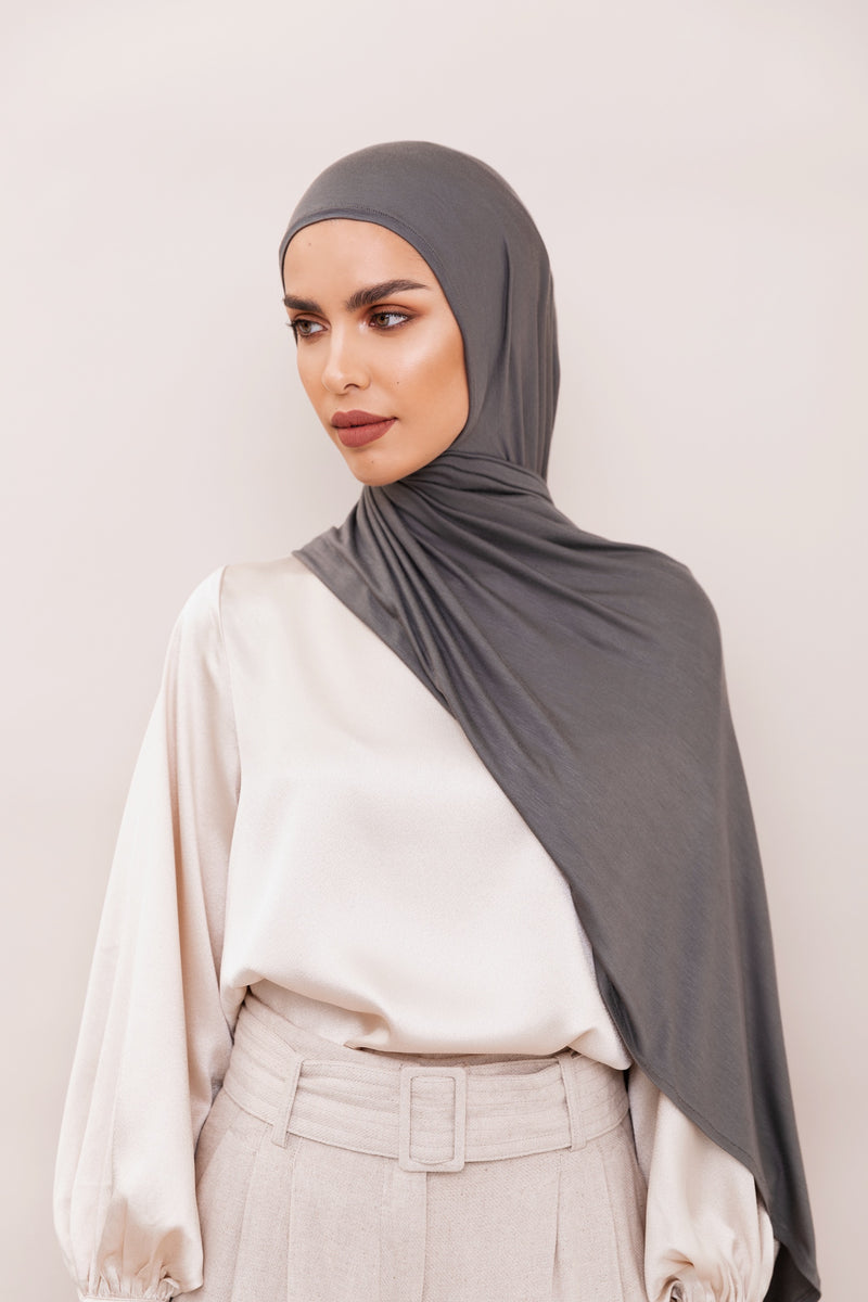 Charcoal Grey Instant Hijab | VOILE CHIC | Pre-Sewn Instant
