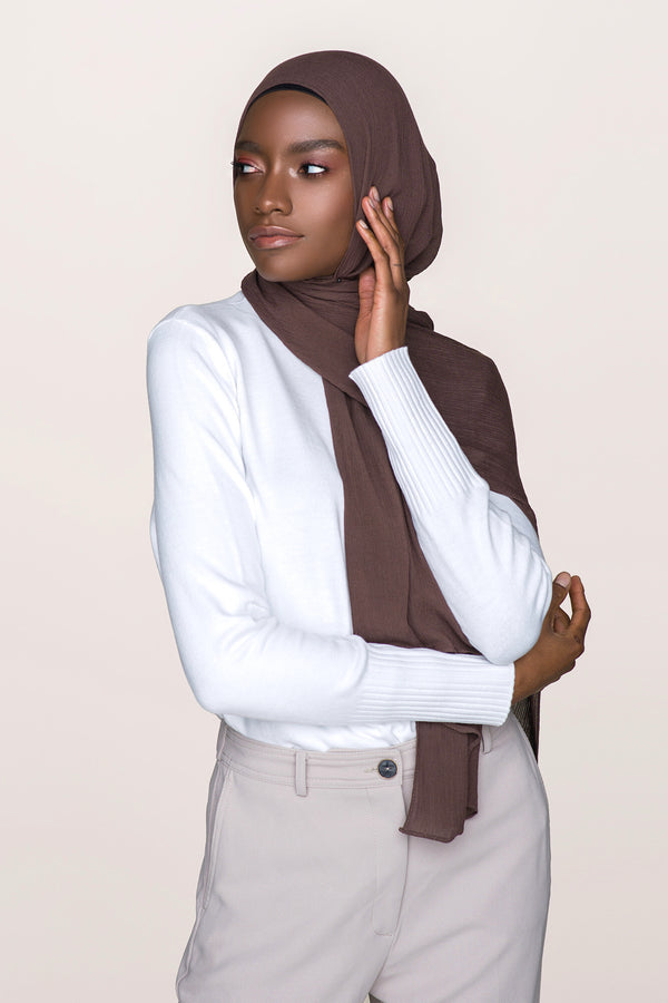 Crinkle Cotton Hijab - Chocolate Brown