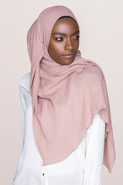 Crinkle Cotton Hijab - Dusty Rose
