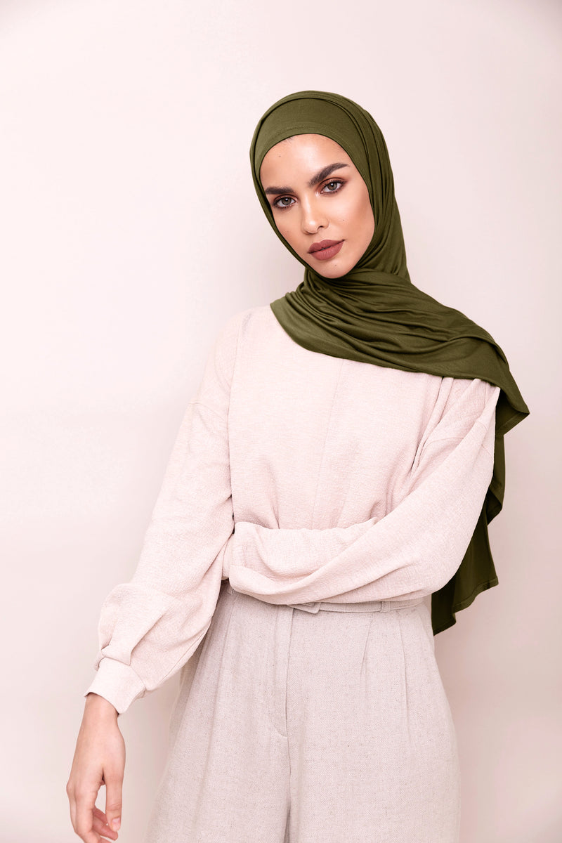 Dark Olive Instant Hijab | VOILE CHIC | Slip On Hijab