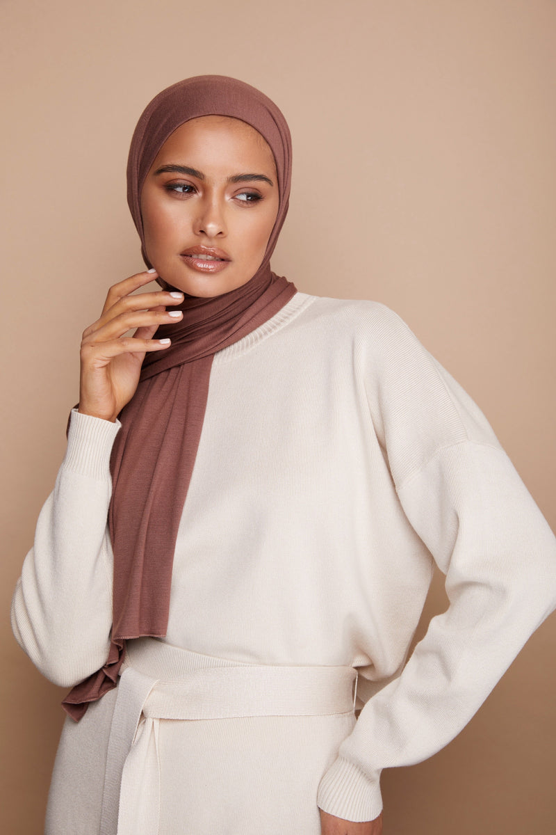 Mocha Brown Premium Jersey Hijab | VOILE CHIC | Jersey Hijab