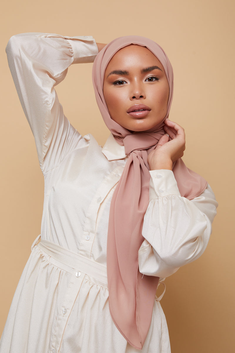 Small Luxury Chiffon Hijab - Taupe Pink