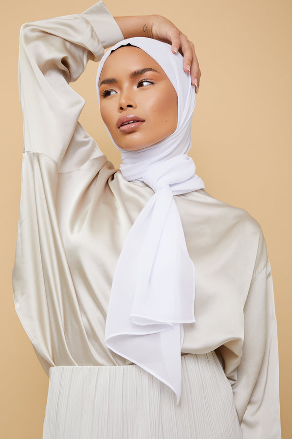 Small Luxury Chiffon Hijab - White