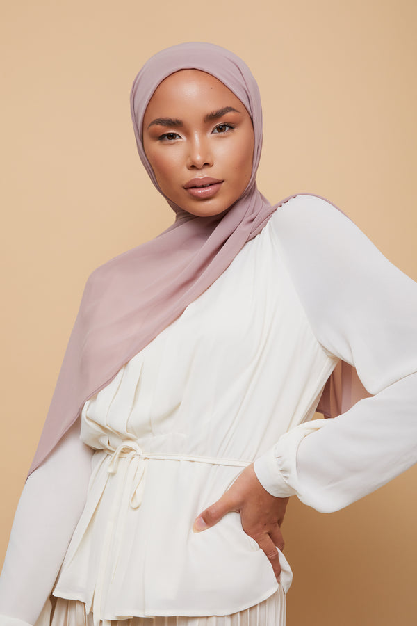 Small Luxury Chiffon Hijab - Bridal Rose