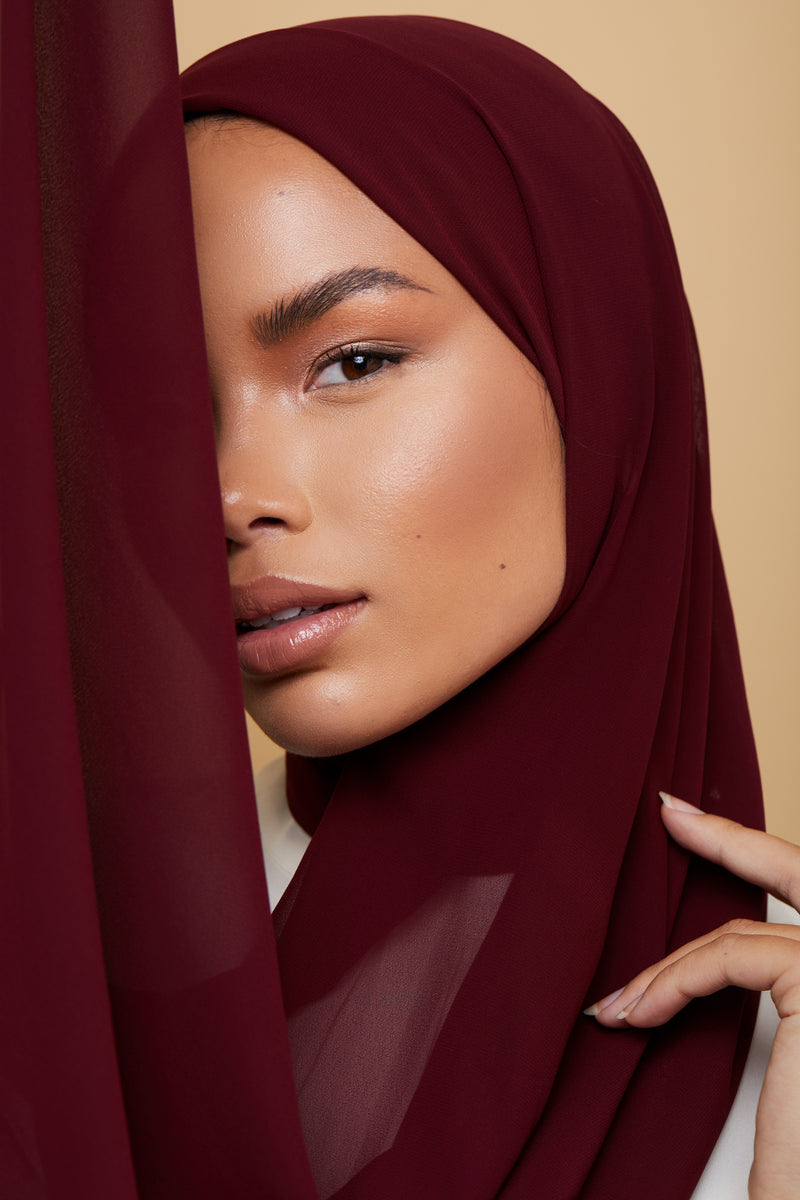Small Luxury Chiffon Hijab - Deep Burgundy