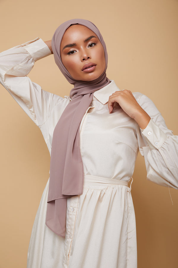 Small Luxury Chiffon Hijab - Mink