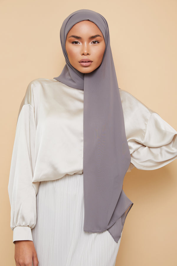 Small Luxury Chiffon Hijab - Gray