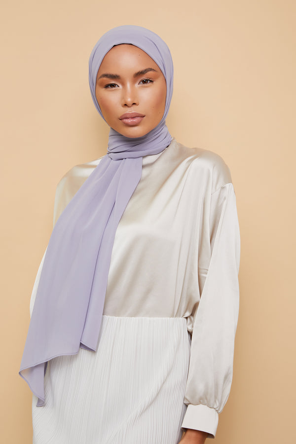 Small Luxury Chiffon Hijab - Dove Gray