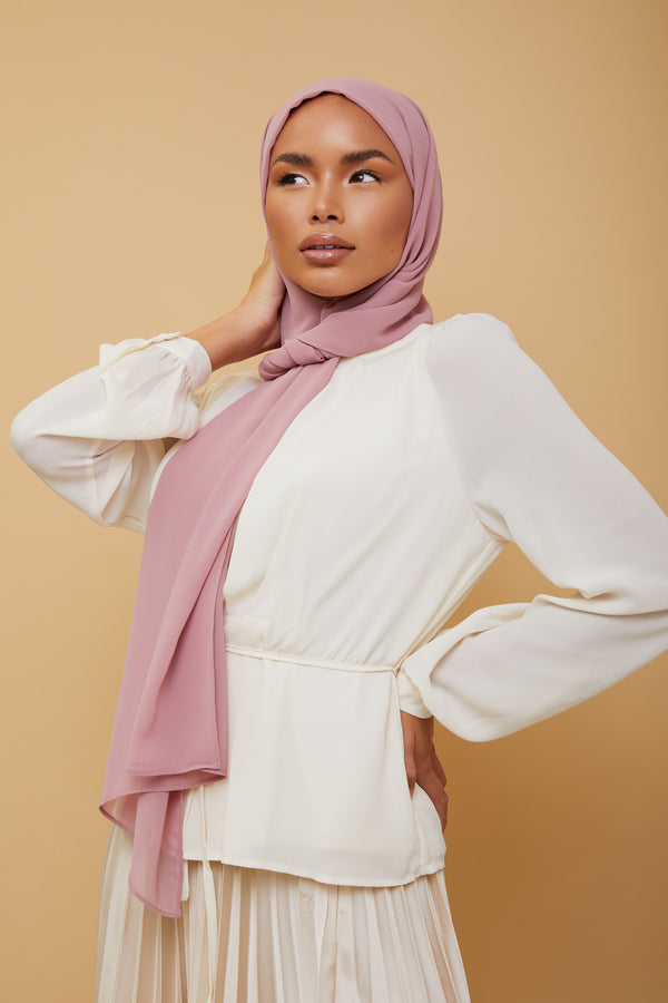 Small Luxury Chiffon Hijab - Blush