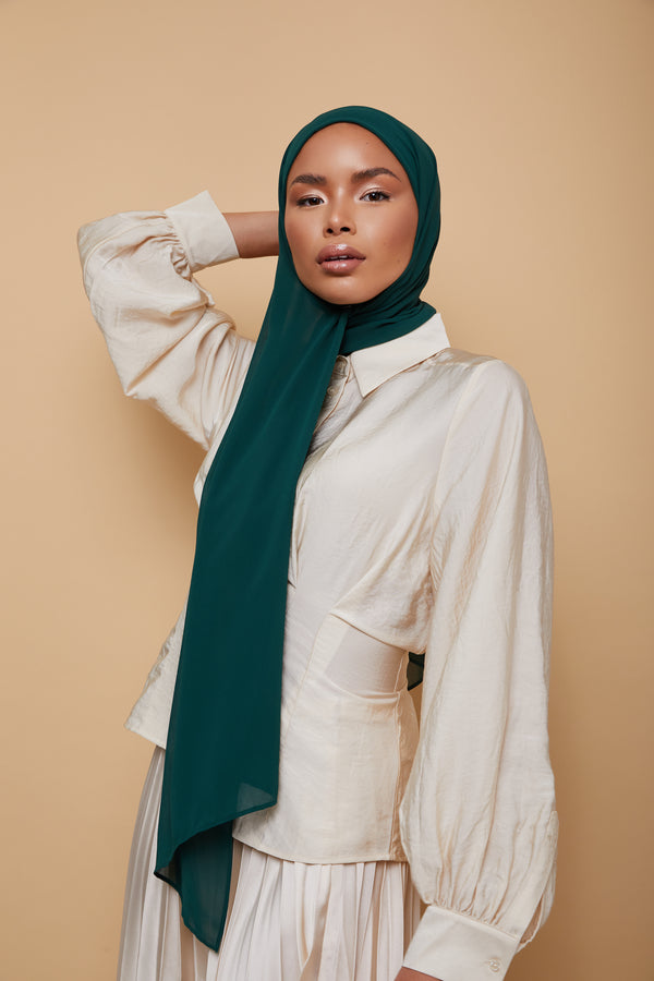 Small Luxury Chiffon Hijab - Forest Green