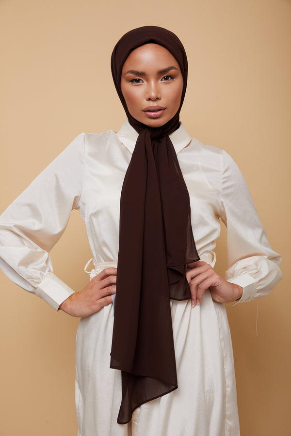Small Luxury Chiffon Hijab - Coffee Brown