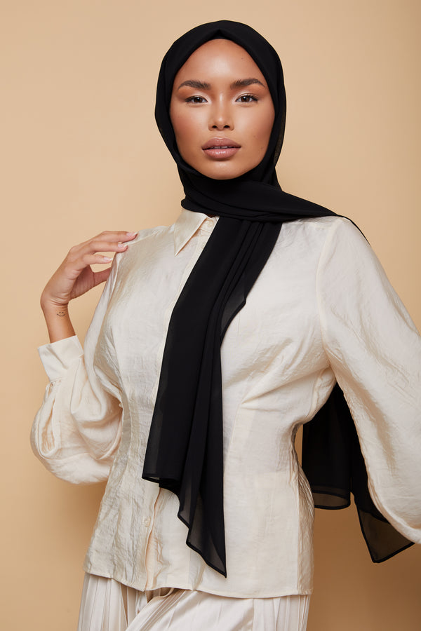 Small Hijab | Black Hijab | Luxury Chiffon Hijab