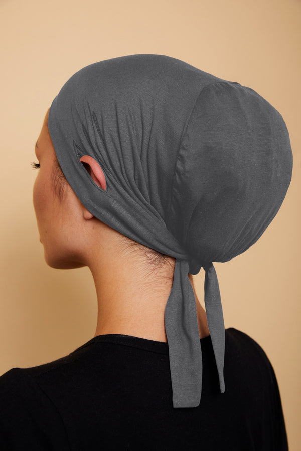 Ear Slit Under Scarf | Charcoal Gray