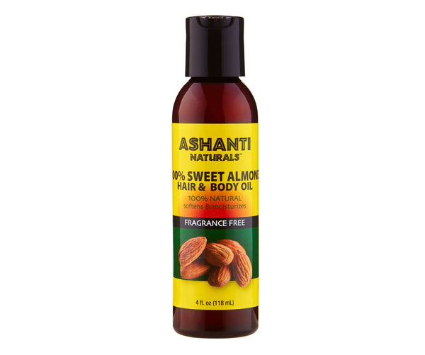 100%  Sweet Almond Natural Hair & Body Oil - 4 oz., Plastic Bottle