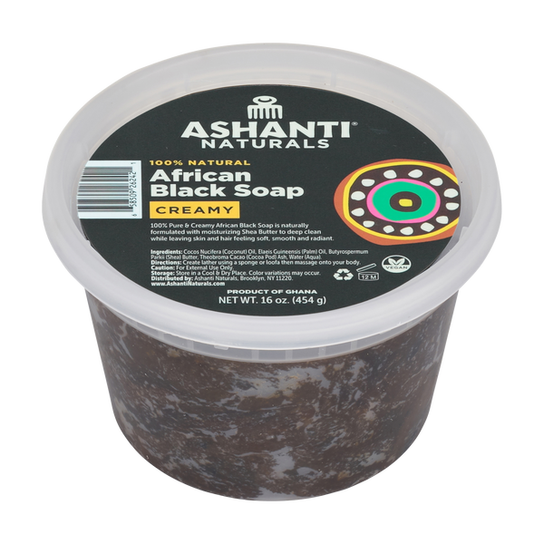 100% Pure & Creamy African Black Soap - 16 oz.