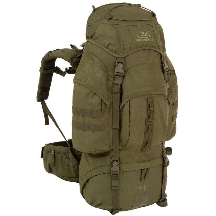 Highlander Outdoor Vandrerygsæk Olive - 66 liter - Forces front