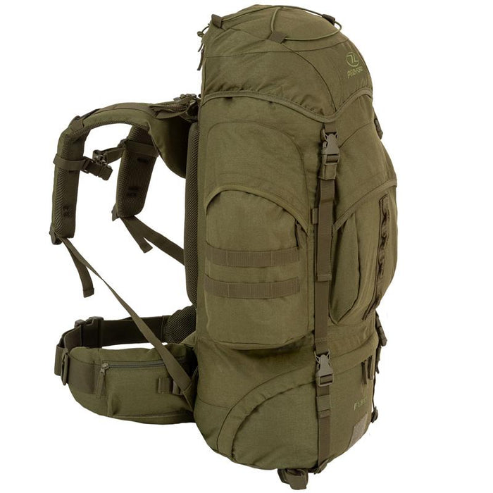 Highlander Outdoor Vandrerygsæk Olive - 66 liter - Forces venstre side