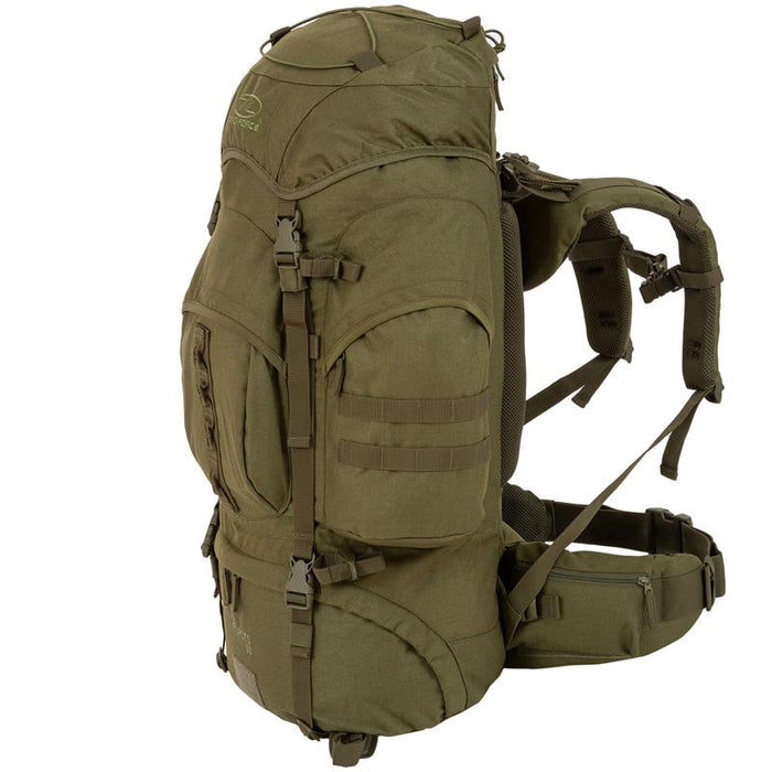Highlander Outdoor Vandrerygsæk Olive - 66 liter - Forces højre side