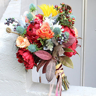 DIY Fall Bouquet Cranberry & Coral