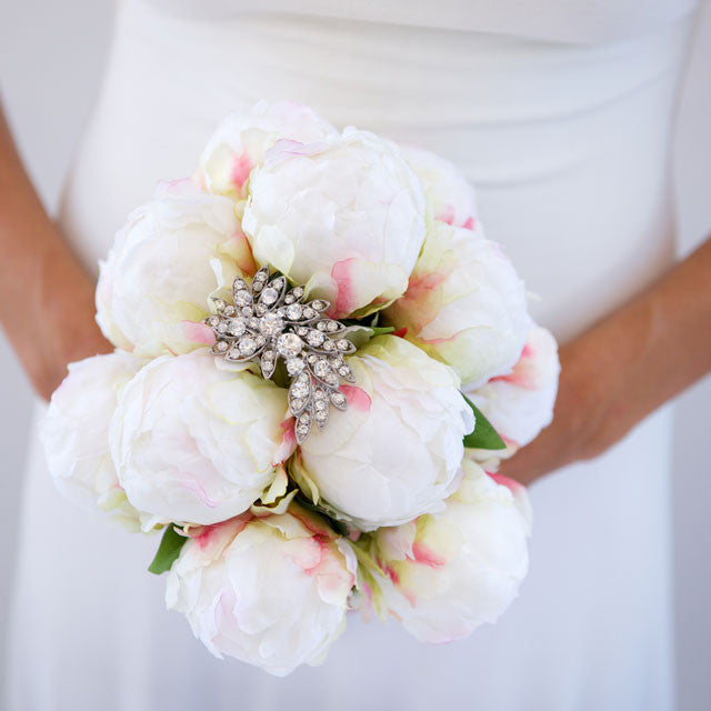 DIY Peony Bouquet with Crystal