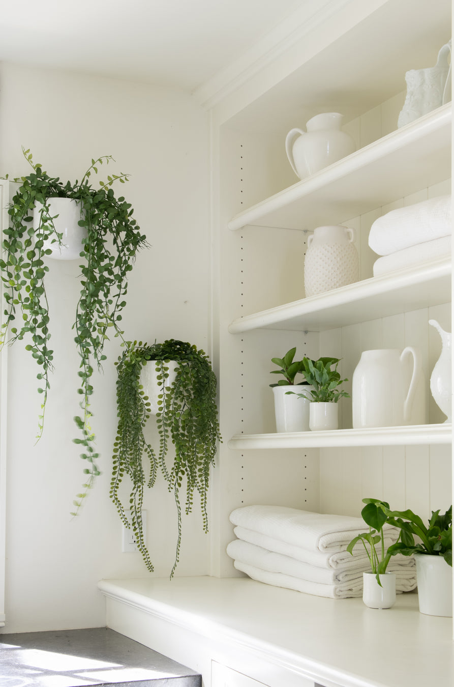 how to design with hanging artificial houseplants