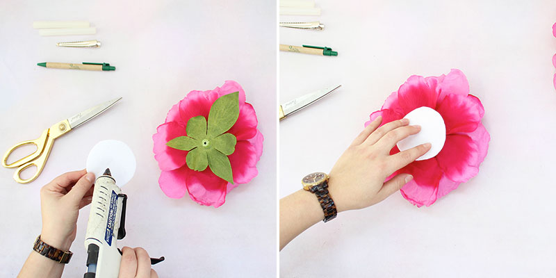Cut 2 felt circles | Attach one to back of flower head