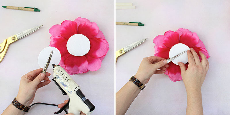Glue hair clip to second piece of felt | Attach to back of flower head