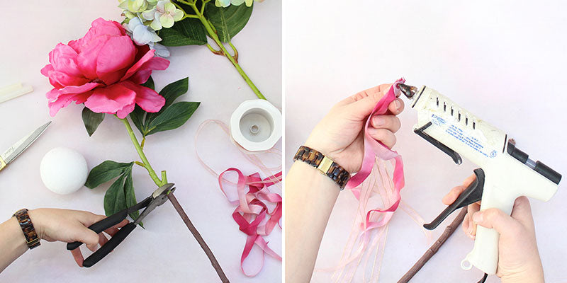 Clip flower stem to use for fairy wand | Cut ribbon to add to wand handle