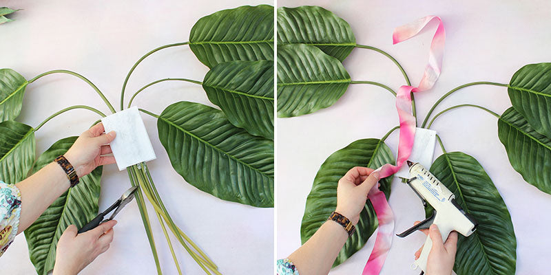 Trim leaf stems | Glue 2 pieces of ribbon to felt