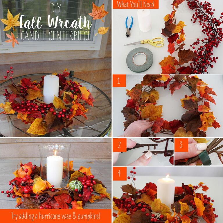 Diy fall wreath candle centerpiece afloral
