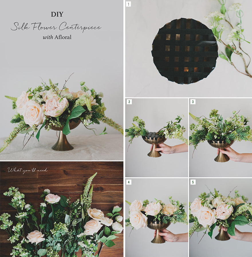 Diy silk flower centerpiece afloral what youll need find the materials youll need at afloral choose your favorite silk flowers and faux greenery for your centerpiece mightylinksfo Image collections