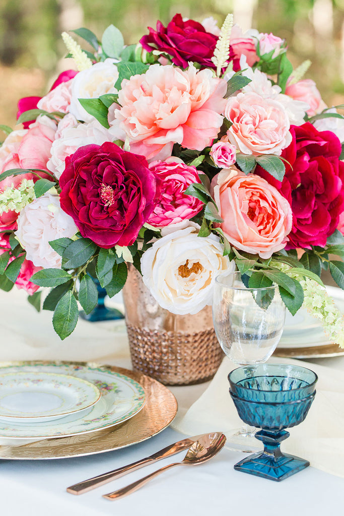 Get The Look: Pink Silk Flower Arrangement for Wedding Centerpieces ...