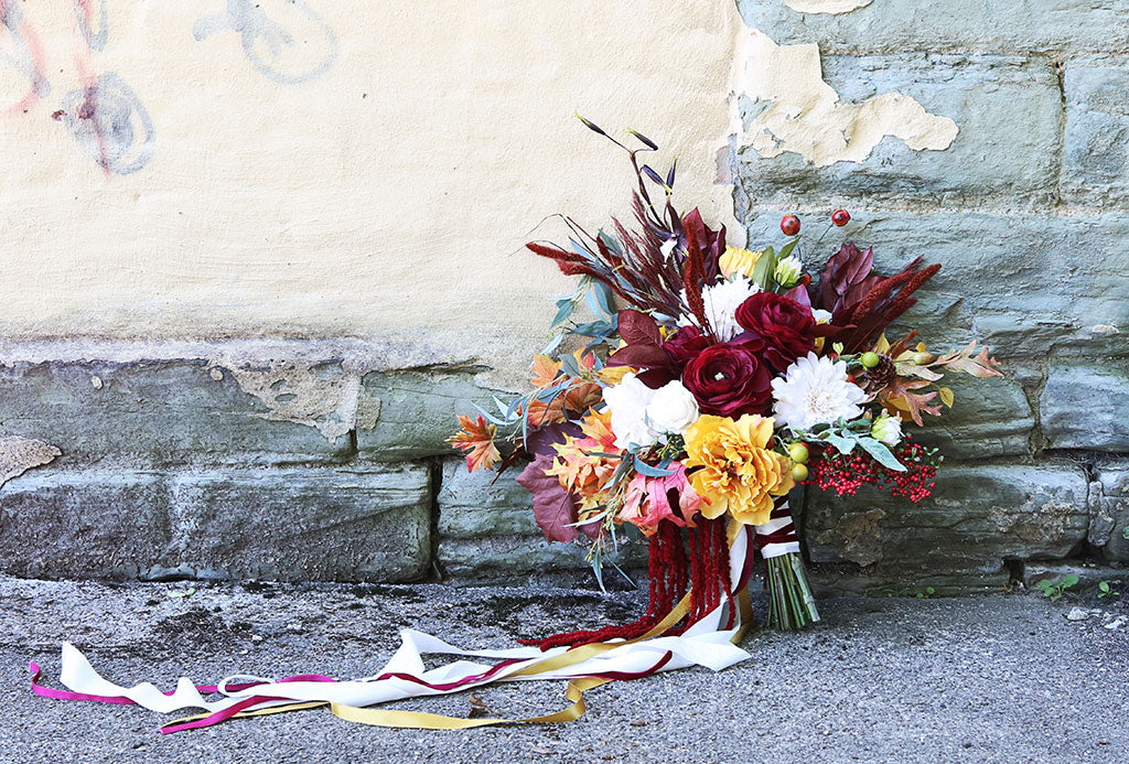 Wedding Bouquet Made with Silk Fall Flowers