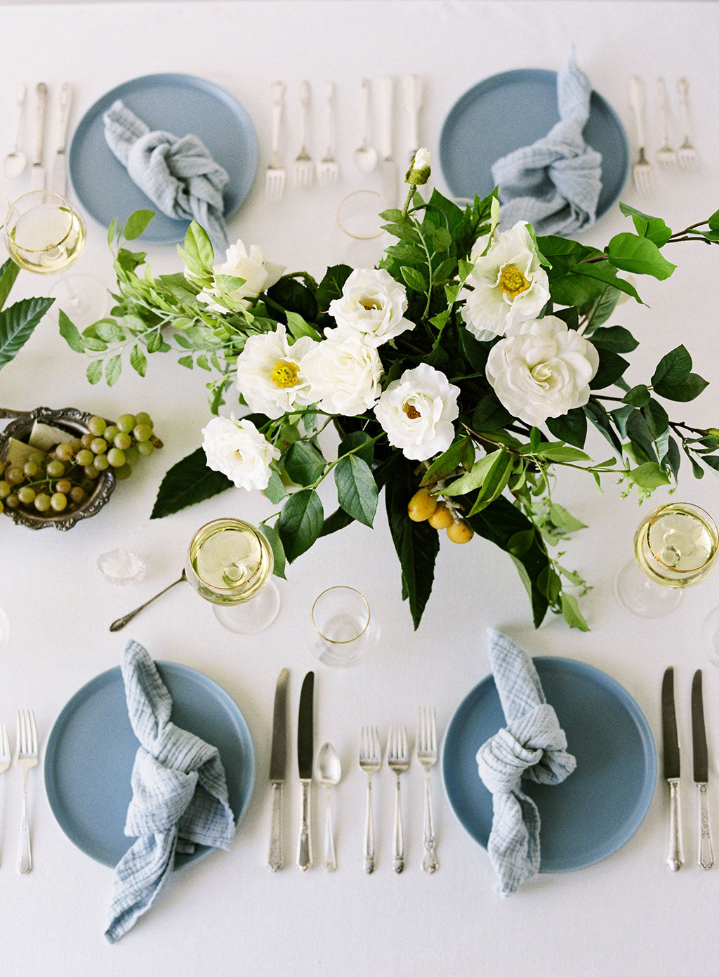 Blue Summer Wedding Table Setting Centerpiece