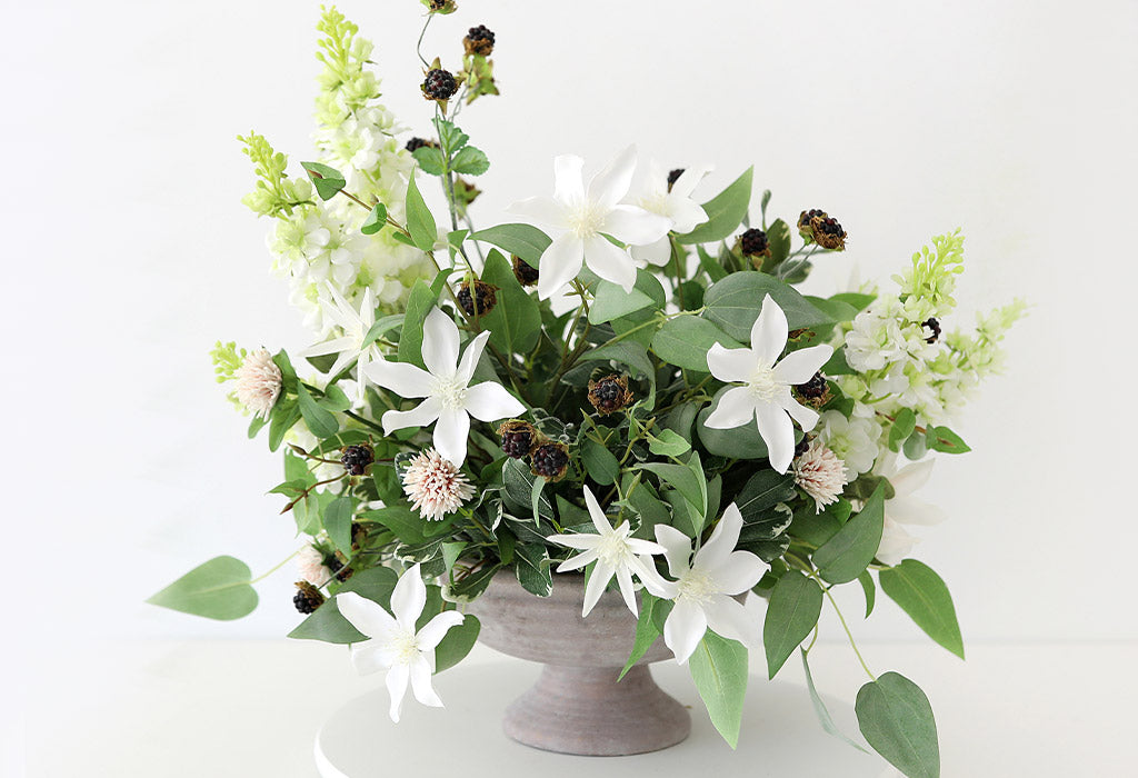 How to Make A Compote Arrangement with Fake Wildflowers
