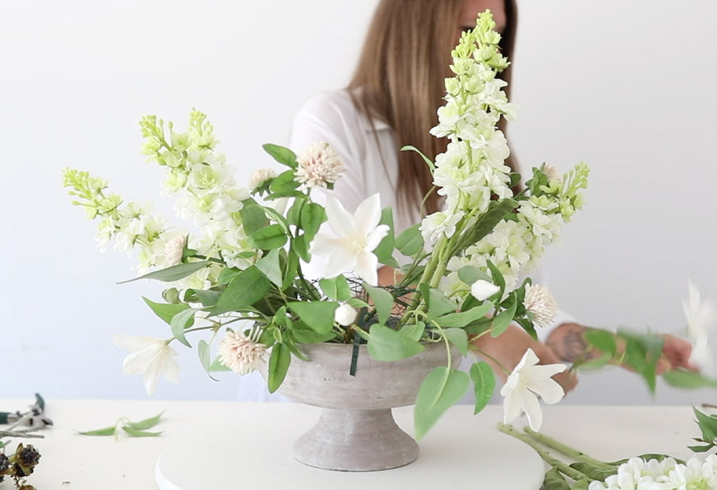 How to Make a Fake Flower Arrangement in a Compote Vase