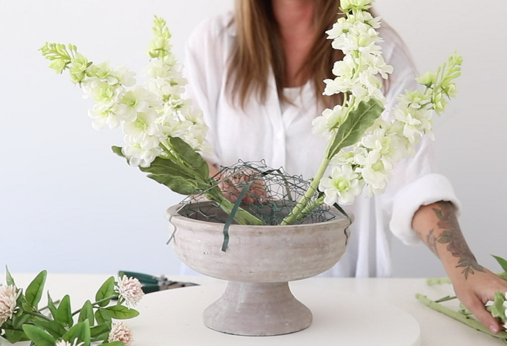 How to Make an Artificial Flower Arrangement in a Compote Bowl