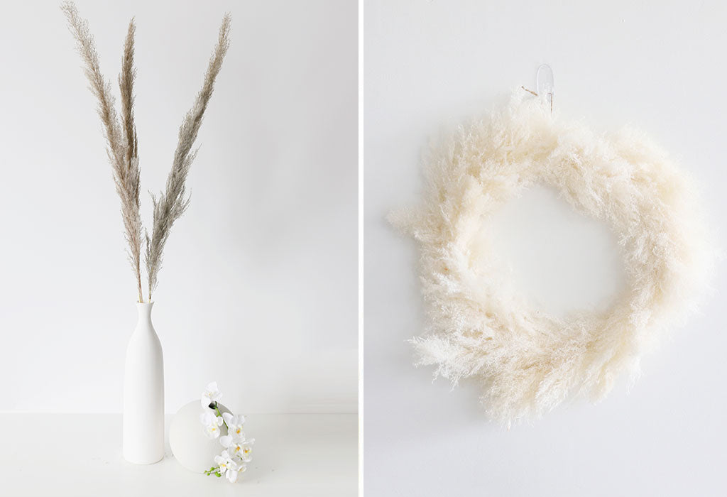 how to style dried pampas grass in home decor and dried flower wreath