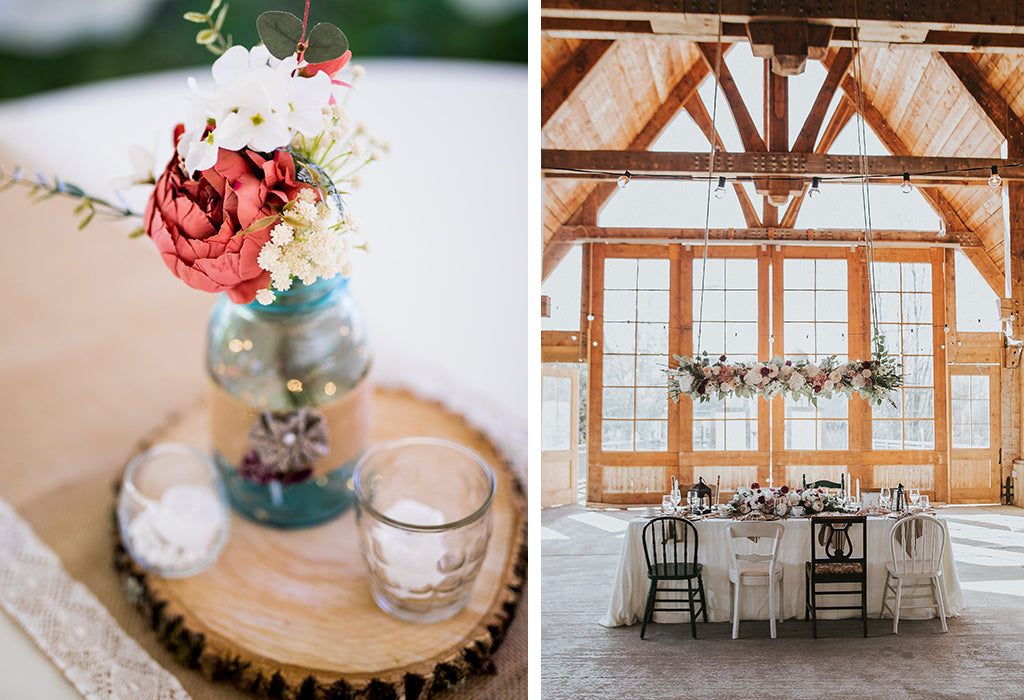 country wedding inspiration, raw edge wood placemat and artificial flowers