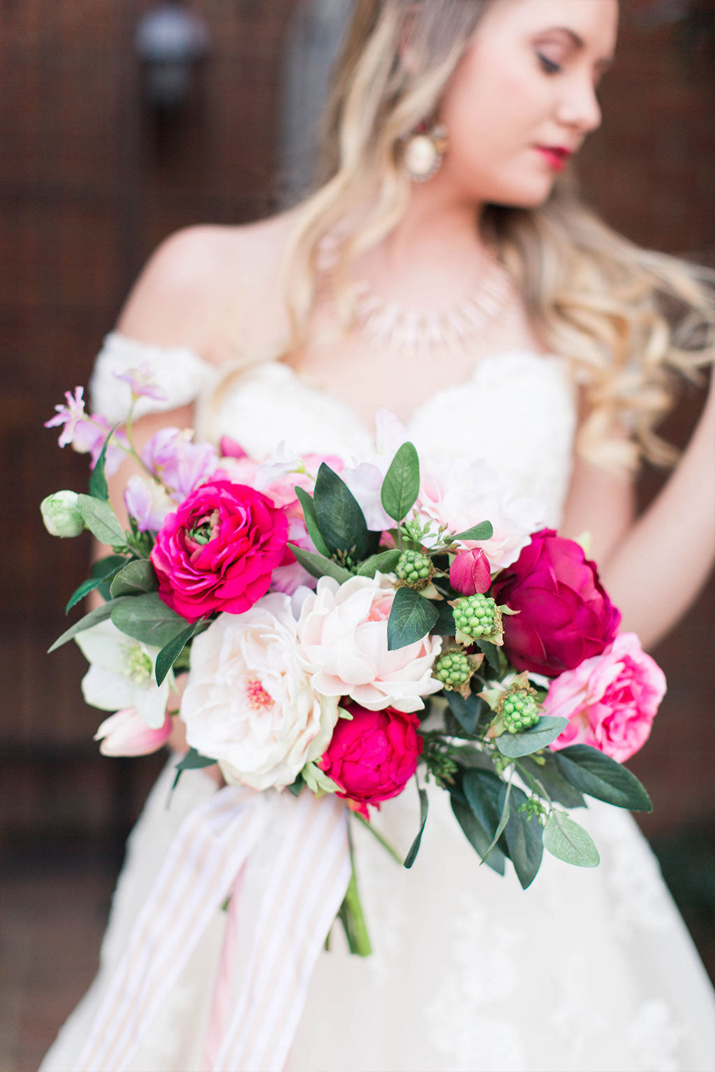 Bright Pink Wedding with Artificial Flowers
