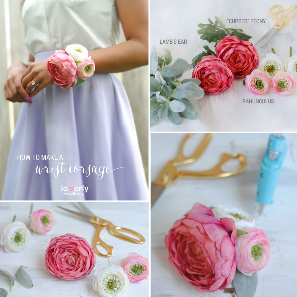 Diy corsage afloral materials silk flowers corsage bracelet or ribbon wire cutters hot glue gun mightylinksfo