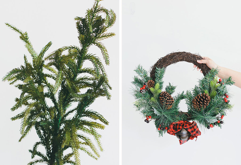 real touch pine and artificial greenery wreath