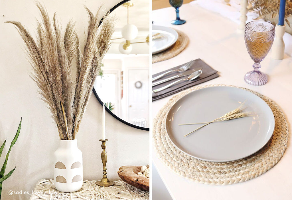 pampas grass and wheat tablescape and table setting