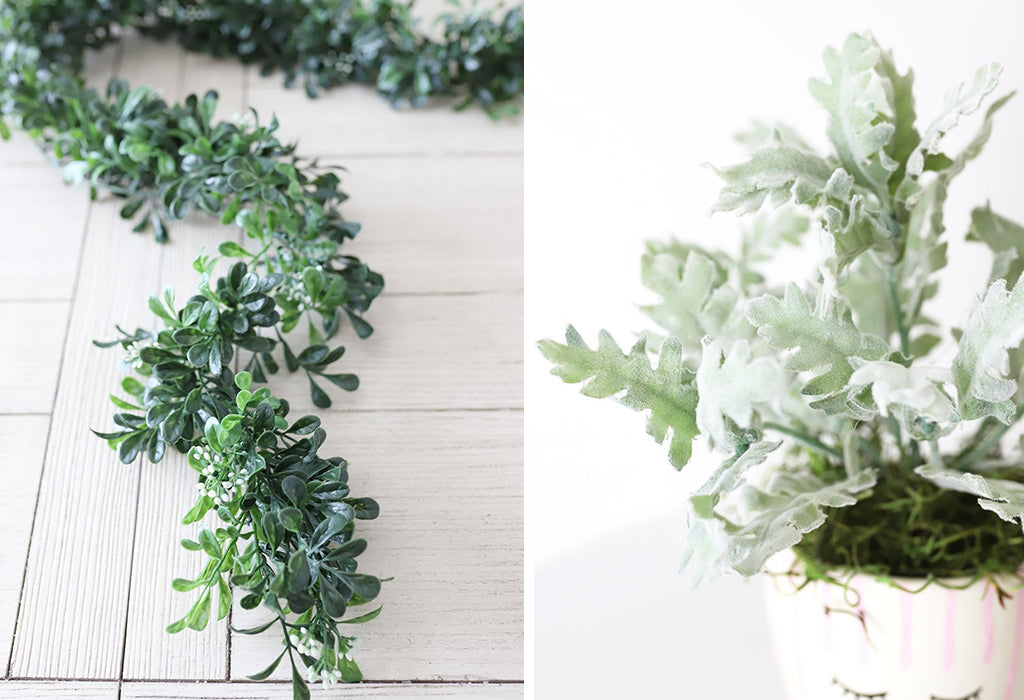 artificial boxwood garland and artificial dusty miller plant with mikamodo vase
