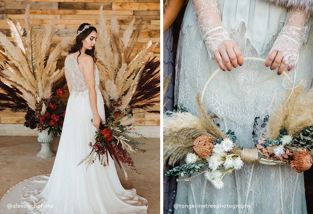 pampas grass fall wedding, hoop bouquet with dried grass and dried flower