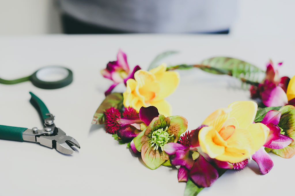 DIY Tropical Silk Flower Crowns
