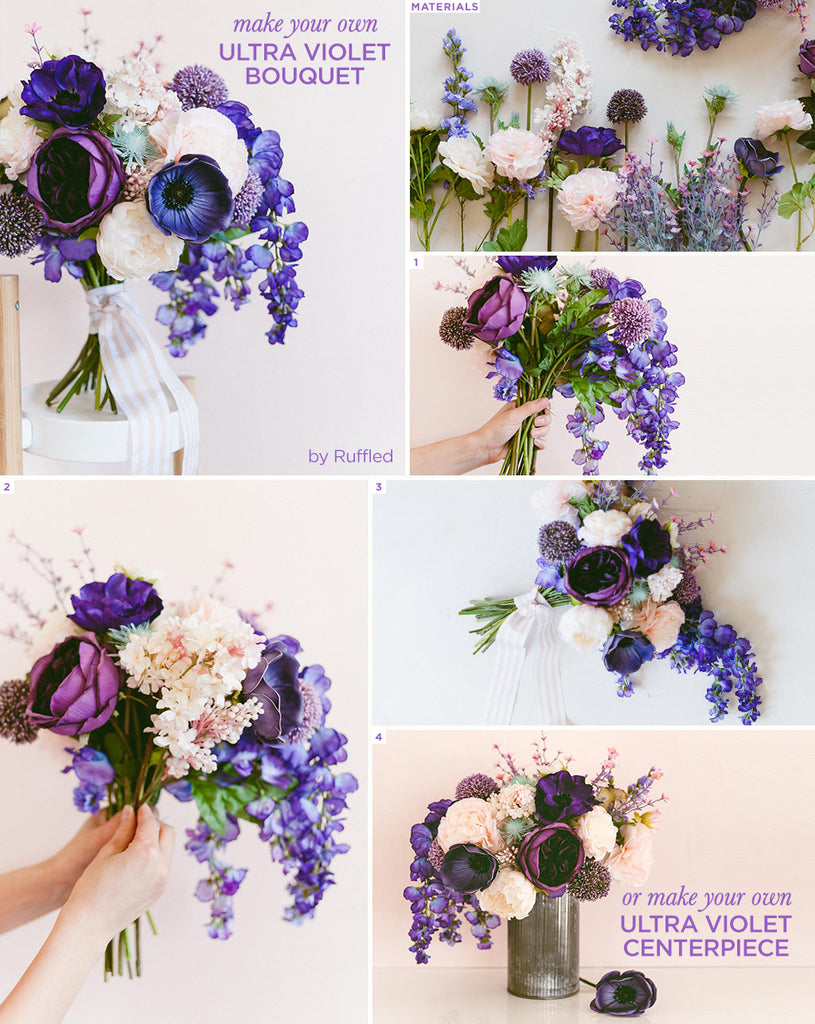 How To Make An Ultra Violet Bouquet Diy Bouquet Diy Floral